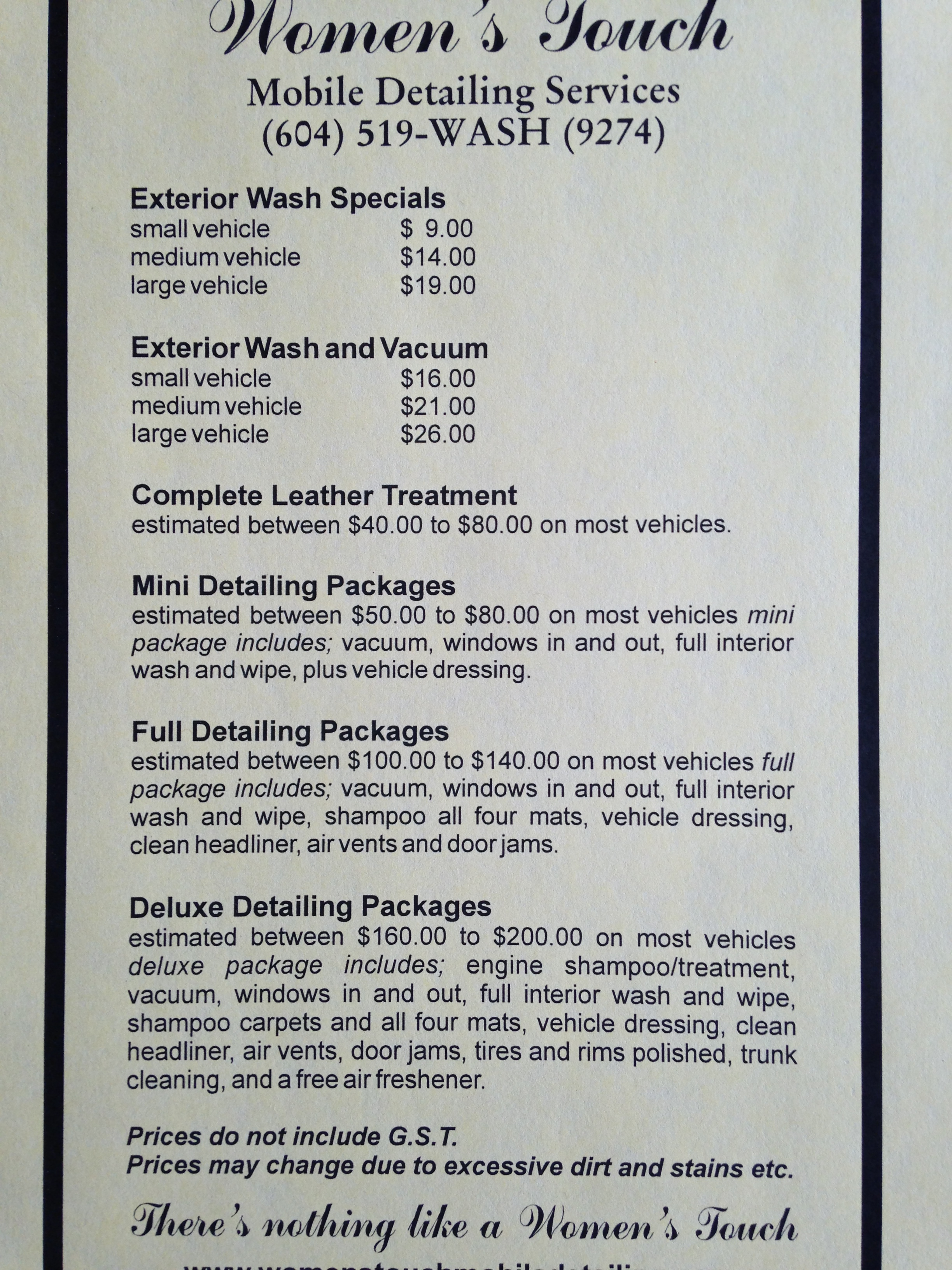 Women's Touch Mobile Detailing Services